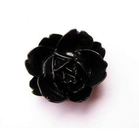 Kamėja - rožytė rankdarbiams, pakabukams juodos spalvos 21x19mm