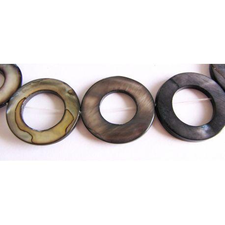 Perlų masės karoliukai pilkos - juodos spalvos žiedo formos 25mm