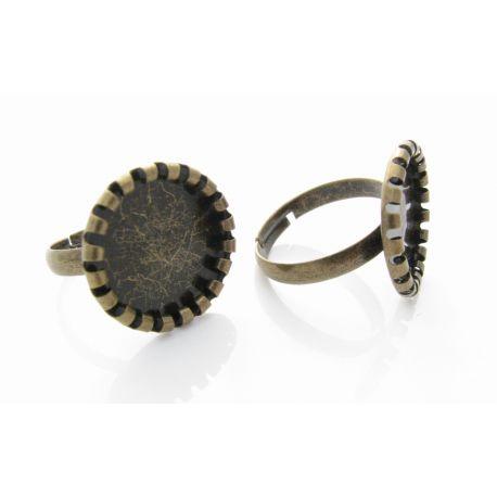Ring base for caboshn, aged bronze, 17 mm