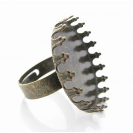 Ring base for caboshn, aged bronze, 17.5 mm