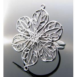 Žiedo pagrindas su ažūrine plokštele, sidabro spalvos, 17 mm
