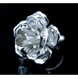 Žiedo pagrindas su ažūrine plokštele, tamsios sidabro spalvos, 17 mm