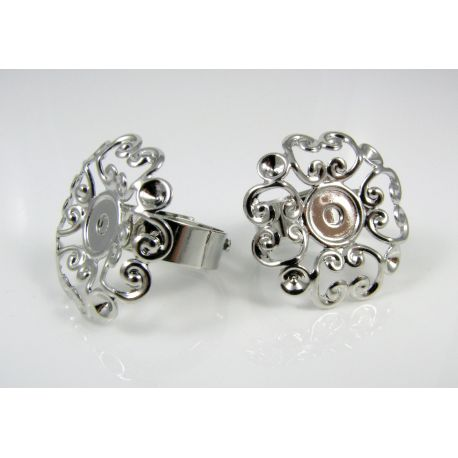 Ring base with openwork plate, dark silver, 17 mm