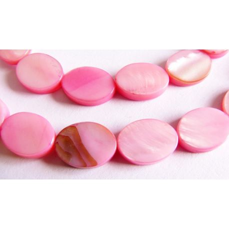 Perlų masės karoliukai šviesiai rožinės spalvos ovalo formos 12mm