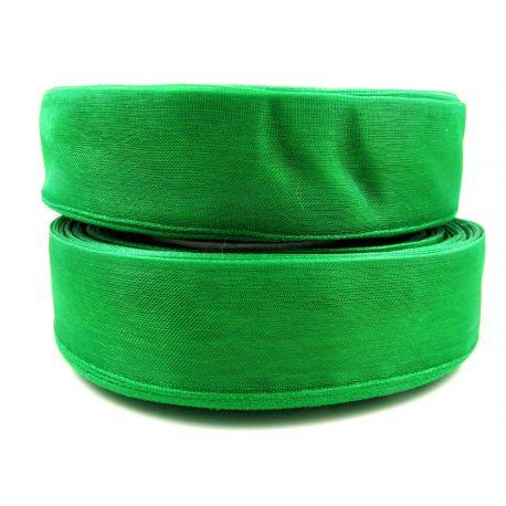 Organza strip, bright green, 25 mm wide
