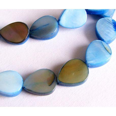 Perlų masės karoliukai žydros spalvos lašo formos 10x8mm