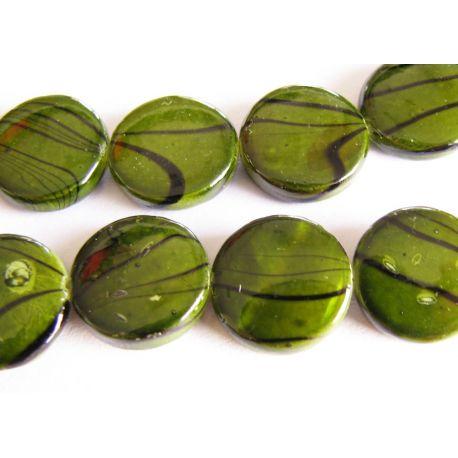Perlų masės karoliukai tamsiai žalios spalvos monetos formos 12mm