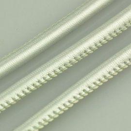 Dirbtinės odos virvelė, blizgios sidabro spalvos, storis apie 5.50 mm