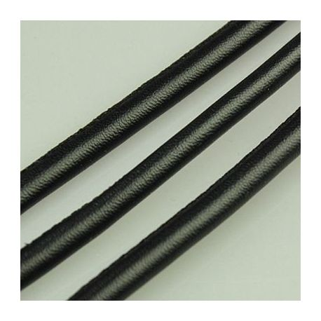 Artificial leather cord, black, thickness app about 5.50 mm