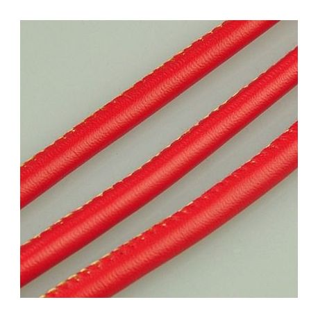 Artificial leather cord, red, thickness app about 5.50 mm
