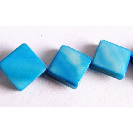 Pearl mass beads blue diamond shape 10x10mm