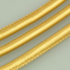 Artificial leather cord, shiny gold, thickness app about 5.50 mm