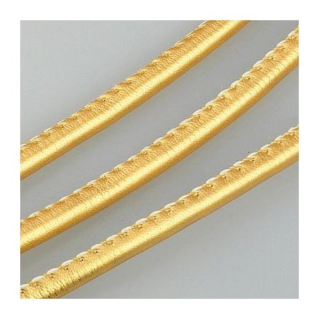 Artificial leather cord, gold color, thickness app about 4.00 mm