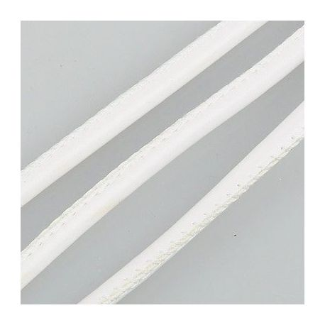 Artificial leather cord, white, thickness app about 4.00 mm