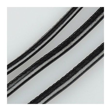 Artificial leather cord, black, thickness app about 4.00 mm