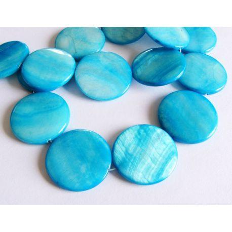 Бусины жемчужной массы синяя монета форма 25мм