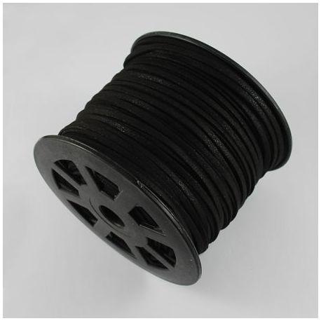 Suede strip, black, 3 mm wide 1 meter