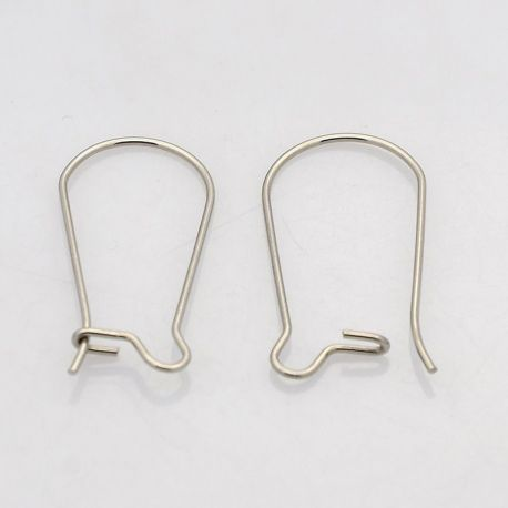 Stainless steel hooks for earrings, nickel color 20x10mm