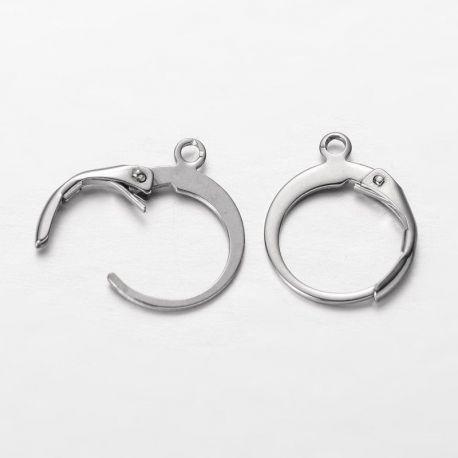 Stainless steel earrings, nickel color 14x12 mm