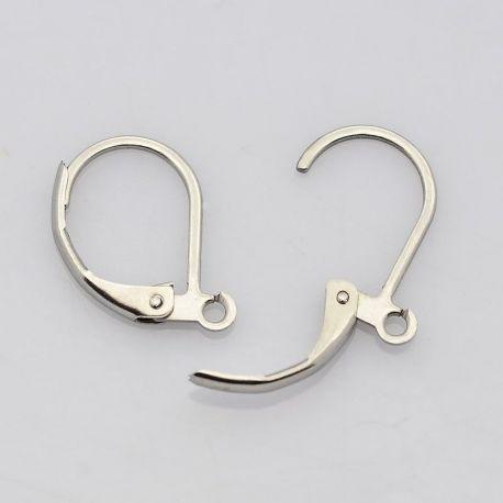 Stainless steel hooks for earrings, nickel color 15x10 mm