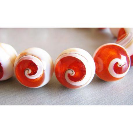 Perlų masės karoliukai oranžinės - baltos spalvos apvalios formos 12mm