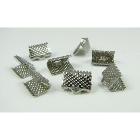 Strip clamp, nickel colours, 10x6 mm, 10 pcs