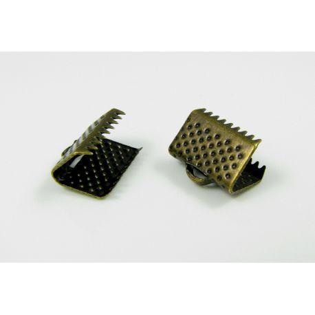 Strip clamp, aged bronze, 10x6 mm, 10 pcs