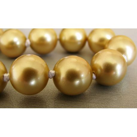 SHELL pearls dark gold color round shape 10mm