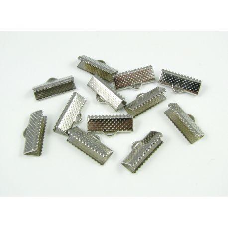Strip clamp, nickel colours, 16x6 mm, 10 pcs