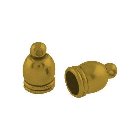 Užbaigimo detalė, sendintos aukso spalvos, 12x7 mm, 6 vnt.