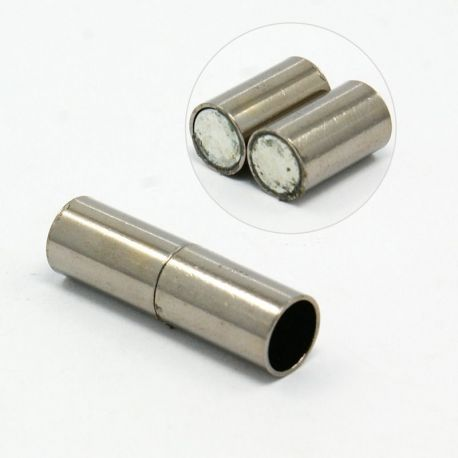 Magnetic clasp, nickel-coloured, 25x7 mm, 1 pcs.