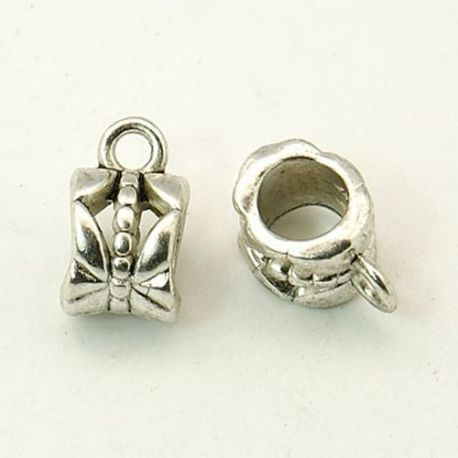 Pendant holder, old silver color, size 8x6 mm 4 pcs.