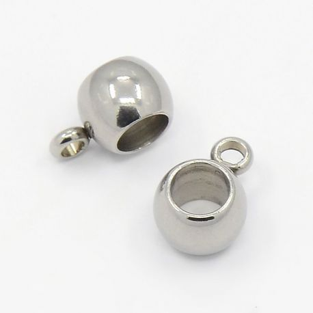 Stainless steel holder,nickel color, size 6x5 mm 1 pcs.