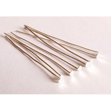 Pins silver flat head 50x0,8mm