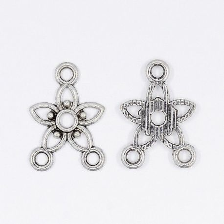 """Distributor """"Flower"""" aged silver color 3 loops 18x12 mm"""