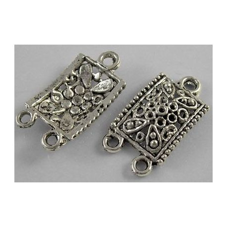 Distributor aged silver color 3 loops 23x13 mm, 2 pcs.