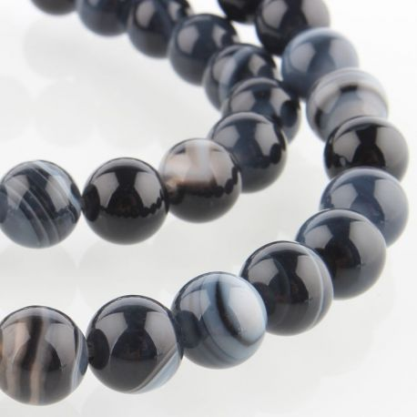 Agate bead thread, white-black, avaled shape 8mm