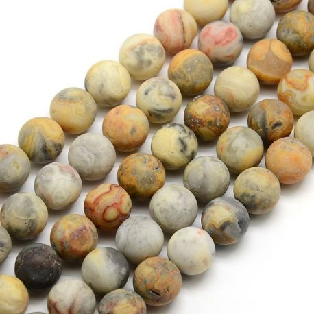 Frosted agate beads, assorted colors, avalical shape 10 mm