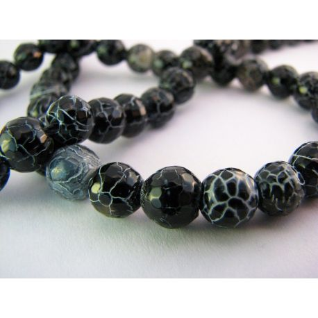 Agate beads black with gray stripes round shape 8mm
