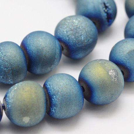 "Agate beads ""Druzy"", blue, round shape 8 mm"