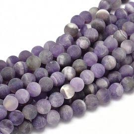 Матовая бусина аметист фиолетовая 8 мм