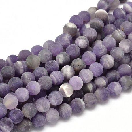 Matte amethist bead thread, purple 6 mm