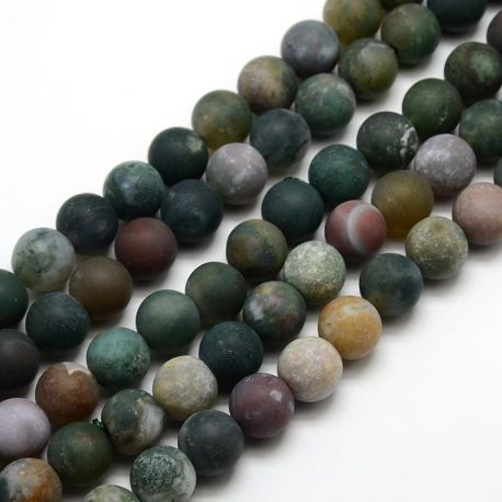 Frosted agate beads, black, avaled 10 mm
