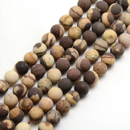 Frosted beae bead thread, brown-yellowish, 8 mm