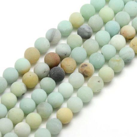 Opaque Amazonite bead thread, mottled, round shape, 6 mm