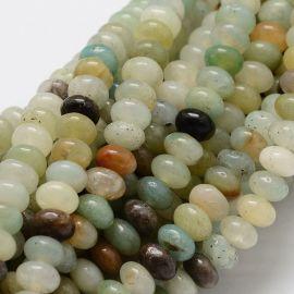 Amazonito karoliukų gija, įvairių spalvų, rondelės formos 6x4 mm