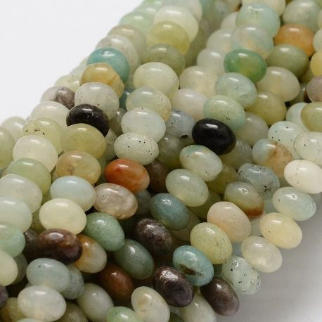 Amazonite bead thread, assorted colors, rondical shape 6x4 mm