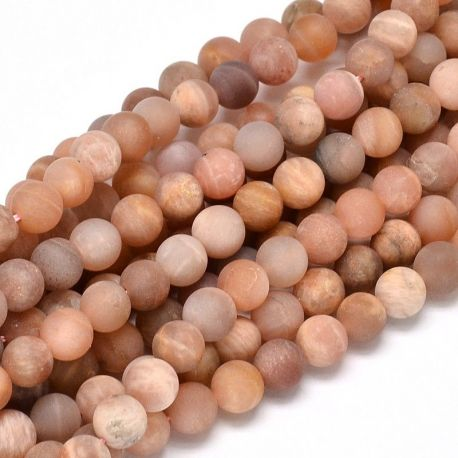 Frosted solar stone bead thread, pink, 5 mm