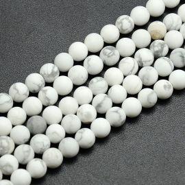 Бусина матовая гулитовая, бело-серая, 8 мм