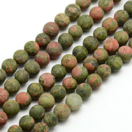 Frosted unit bead thread, green-pink, 8 mm